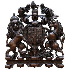 Hand Carved Charles II English Royal Coat of Arms 1660-1685 Armorial Crest