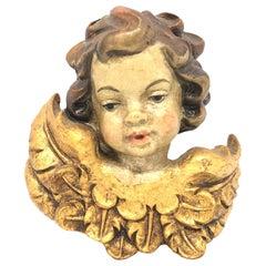 Hand Carved Cherub Angel Head Gilded Wings, 1950s German Oberammergau