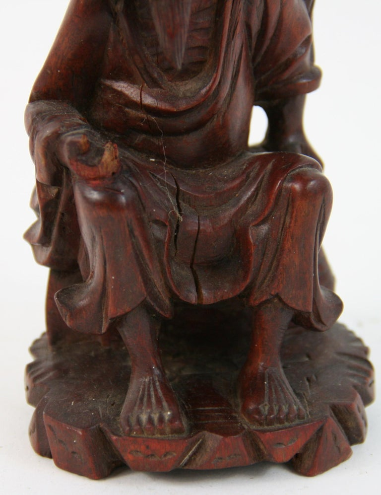 19th Century Hand Carved Chinese Farmer Sculpture For Sale