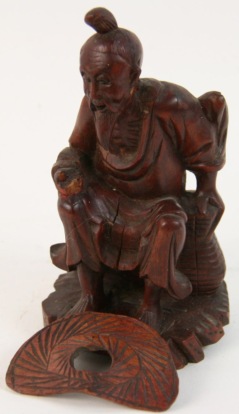 Hand Carved Chinese Farmer Sculpture For Sale 1