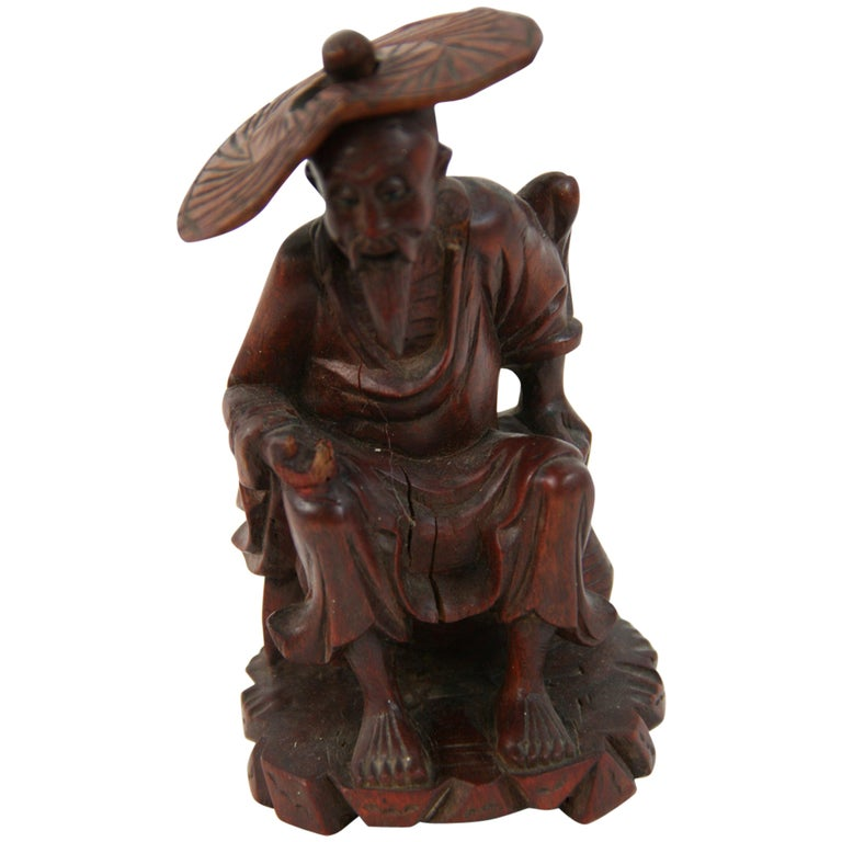 Hand Carved Chinese Farmer Sculpture For Sale