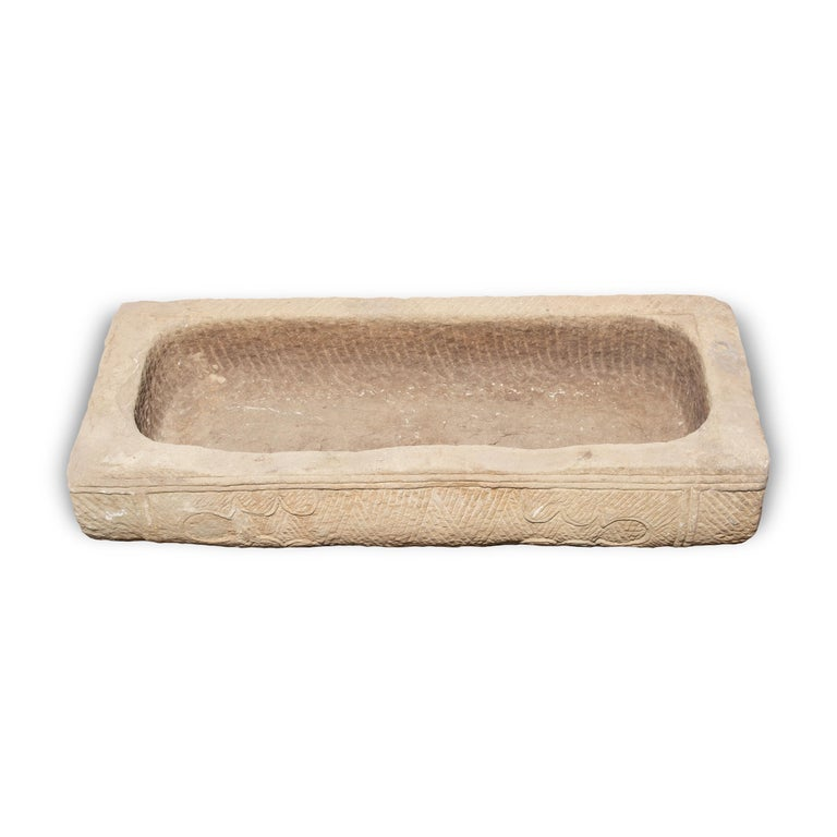 19th Century Hand-Carved Chinese Limestone Trough with Cartouche Etchings For Sale