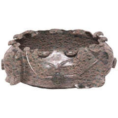 Hand Carved Chinese Lotus Form Stone Basin