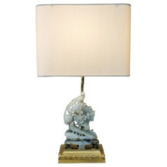Hand Carved Chinese Soapstone and Bronze Table Lamp