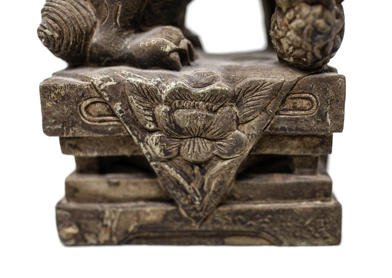 Hand Carved Chinese Stone Foo Dogs For Sale 5