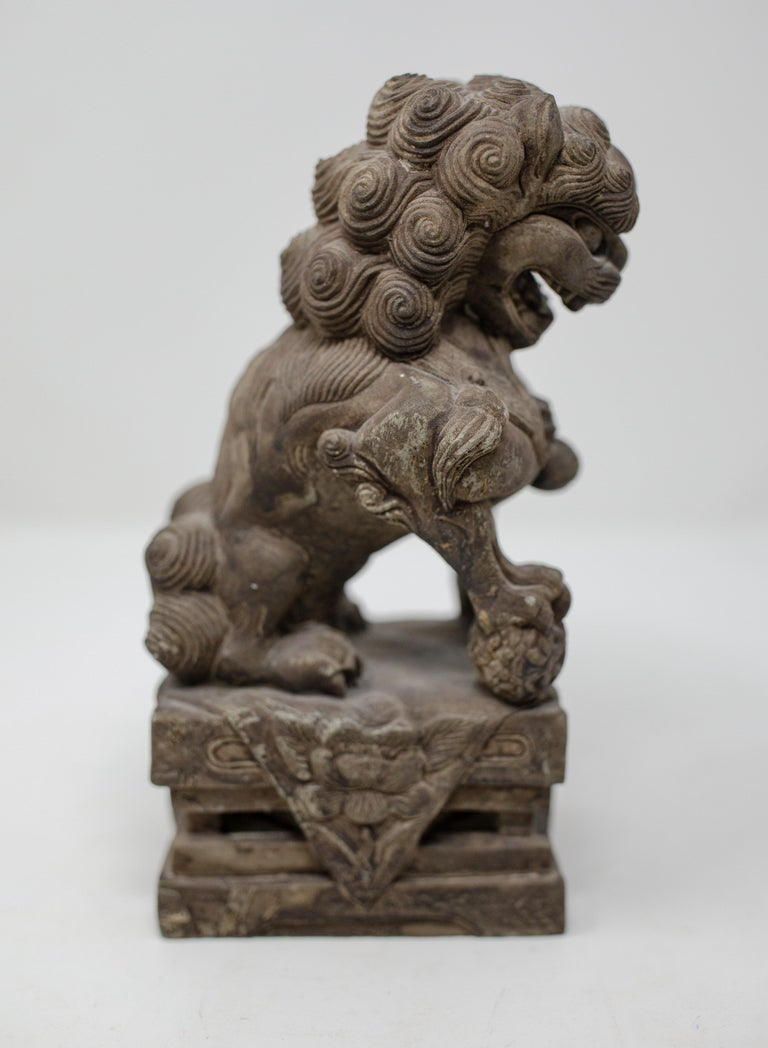 Hand-Carved Hand Carved Chinese Stone Foo Dogs For Sale