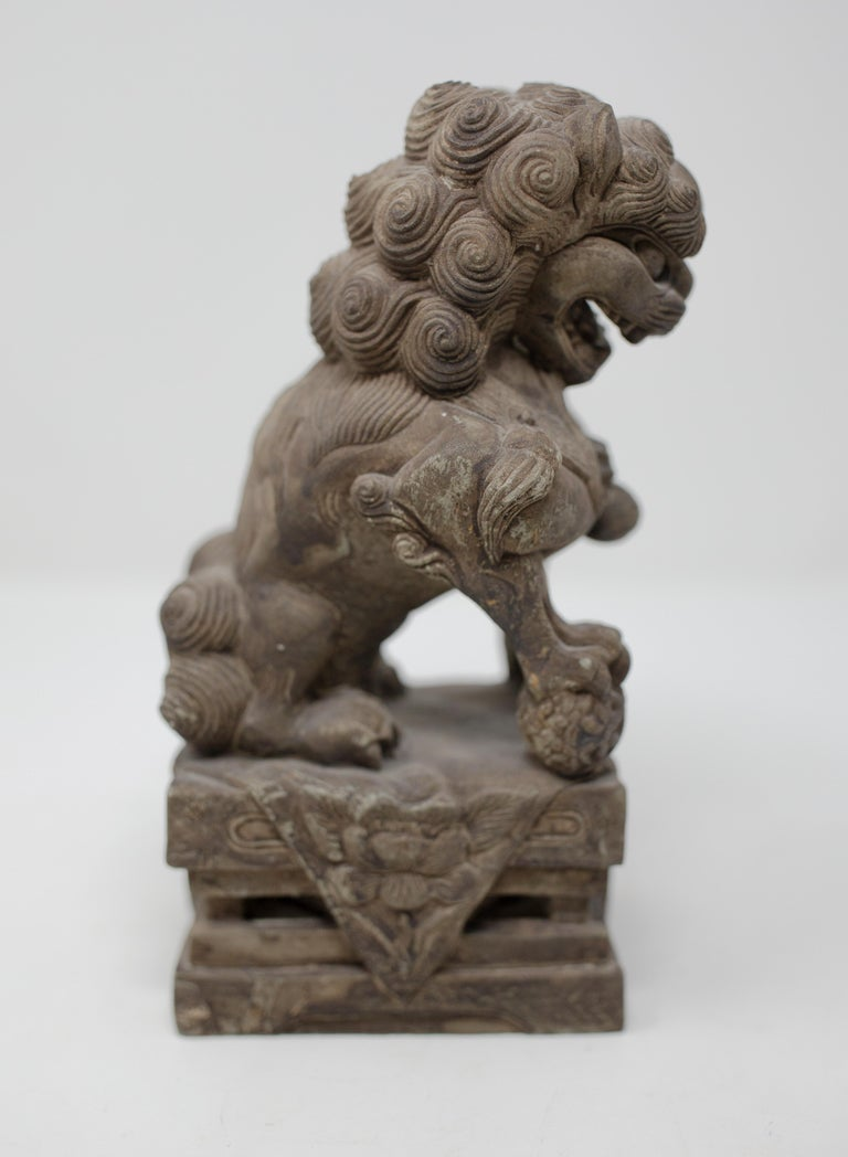 Hand Carved Chinese Stone Foo Dogs In Good Condition For Sale In Cookeville, TN