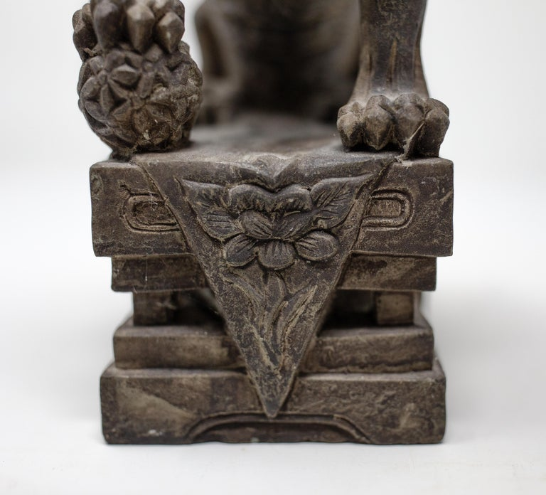 Hand Carved Chinese Stone Foo Dogs For Sale 2