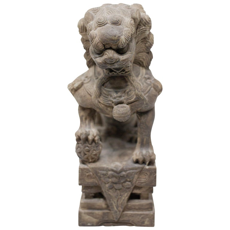 Hand Carved Chinese Stone Foo Dogs For Sale