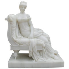 Hand Carved Classical White Marble Lady Sitting on a Chaise Lounge