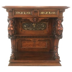 Hand Carved Console Pier Table Attributed to Herter Brothers