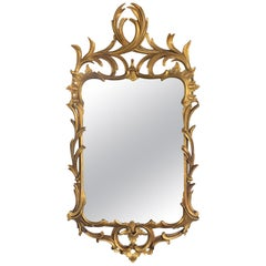Hand-Carved Continental Rococo Revival Foliate Giltwood Mirror