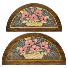 Hand Carved Country French Pine Flower Bouquet Wall Art Panel Plaque, a Pair