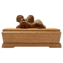 Hand-Carved Decorative Wooden Keepsake Box with Animal Sculpture Lidded Top