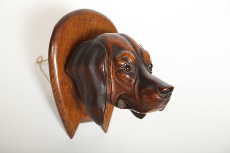 Victorian Hand-Carved Dog's Head Riding Crop Holder For Sale