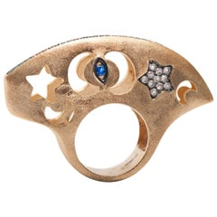 Ammanii Hand-Carved Dome Ring in Vermeil Gold