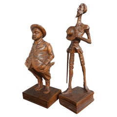 Hand Carved Don Quixote and Sancho Panza Sculptures from the Arts & Crafts Era