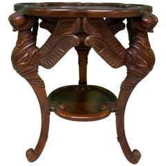 Hand Carved Dragonfly Sculptural End Table