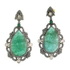 Hand Carved Drop Shape Emerald & Diamonds Dangle Earring in 18K Gold and Silver