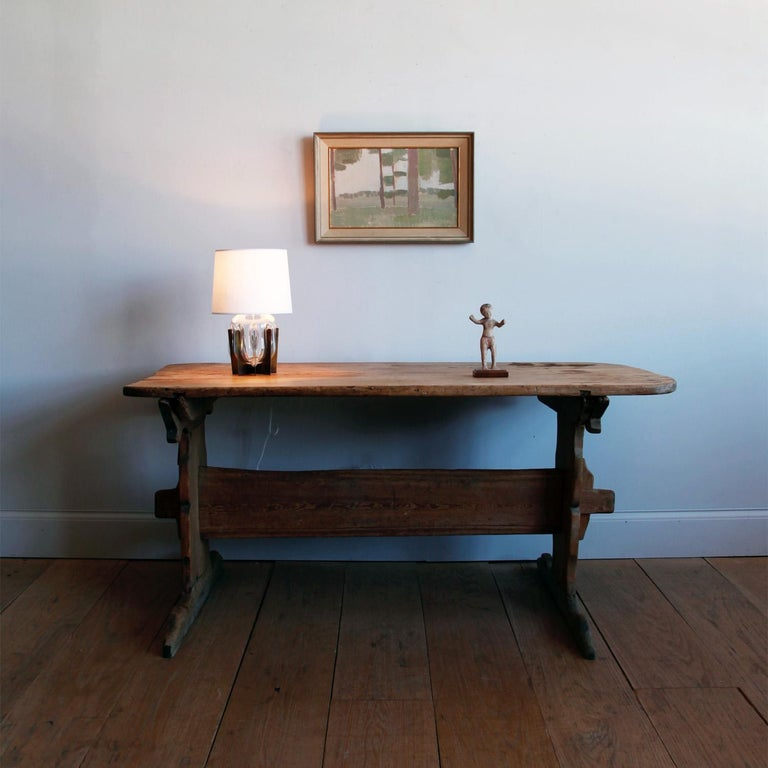 Gustavian Hand Carved Early 19th Century Swedish Trestle Table For Sale