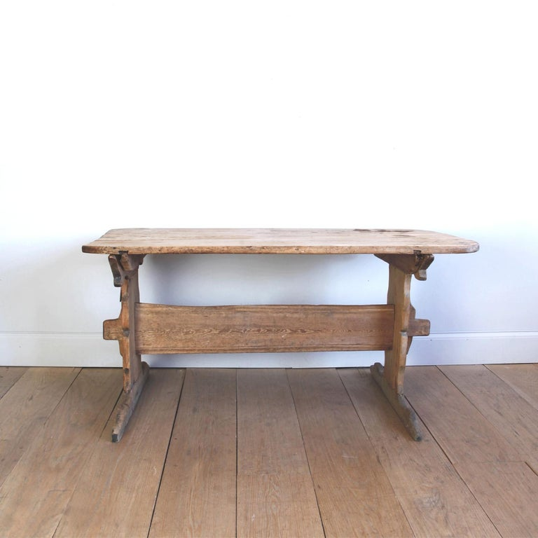 Hand Carved Early 19th Century Swedish Trestle Table In Fair Condition For Sale In New York, NY