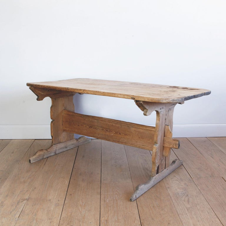 Pine Hand Carved Early 19th Century Swedish Trestle Table For Sale