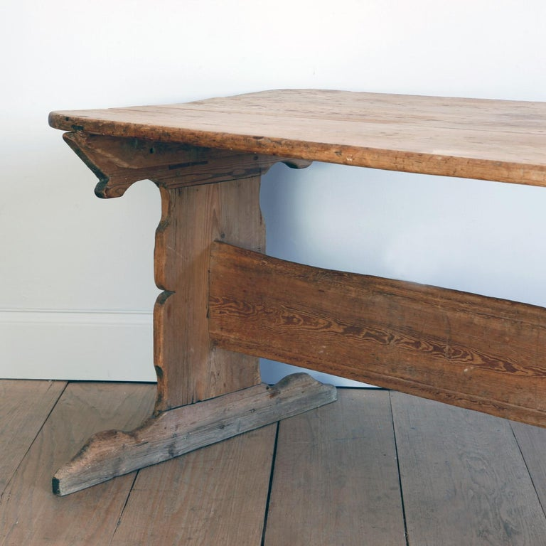 Hand Carved Early 19th Century Swedish Trestle Table For Sale 1