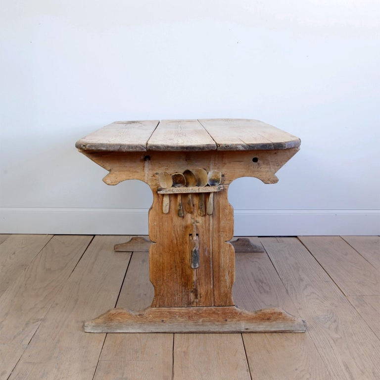 Hand Carved Early 19th Century Swedish Trestle Table For Sale 2