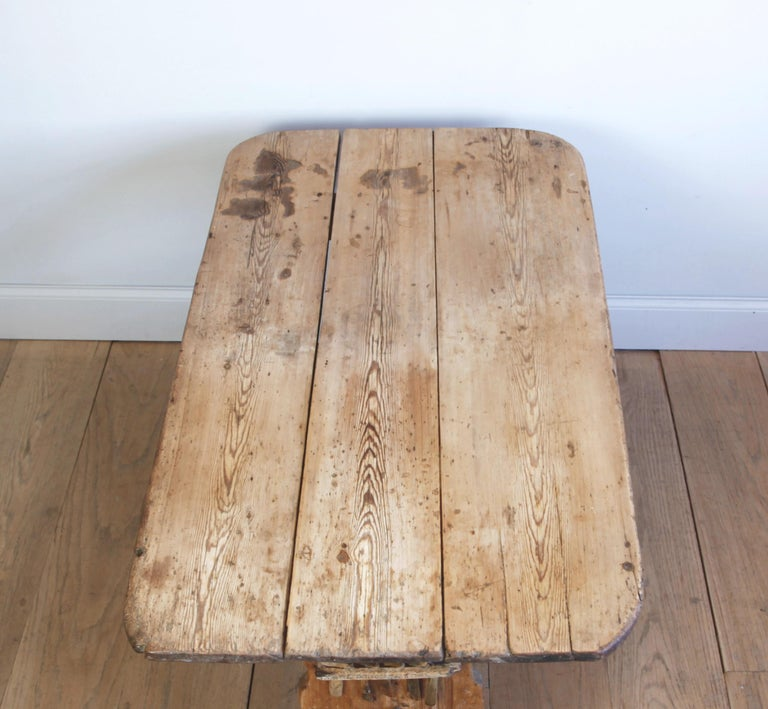 Hand Carved Early 19th Century Swedish Trestle Table For Sale 3