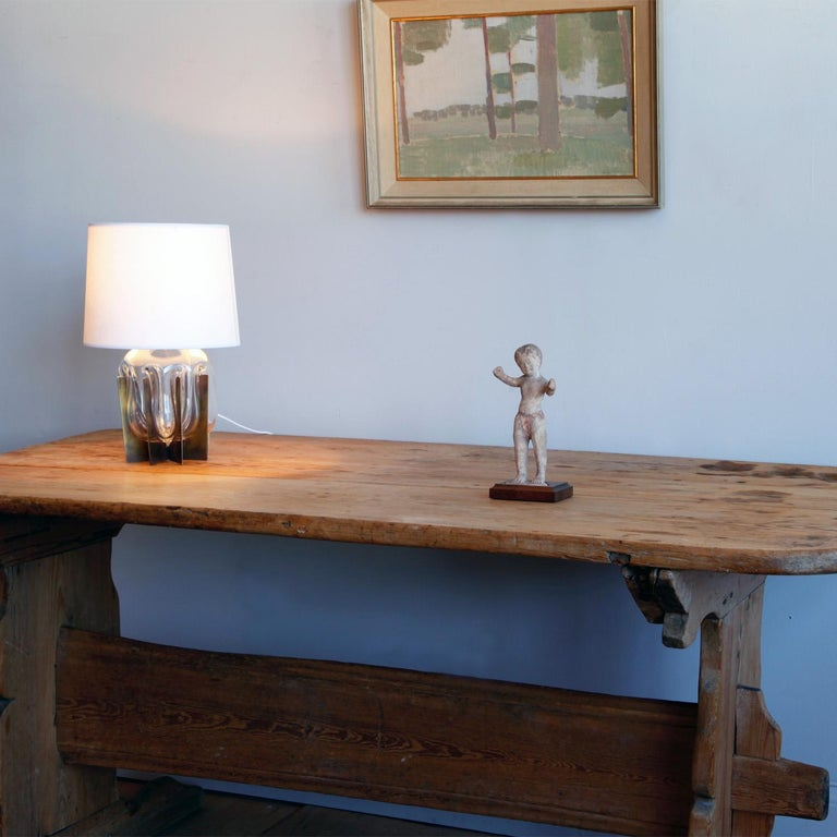 Hand Carved Early 19th Century Swedish Trestle Table For Sale 4