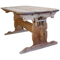 Hand Carved Early 19th Century Swedish Trestle Table