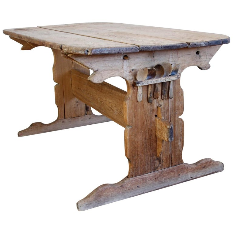 Hand Carved Early 19th Century Swedish Trestle Table For Sale