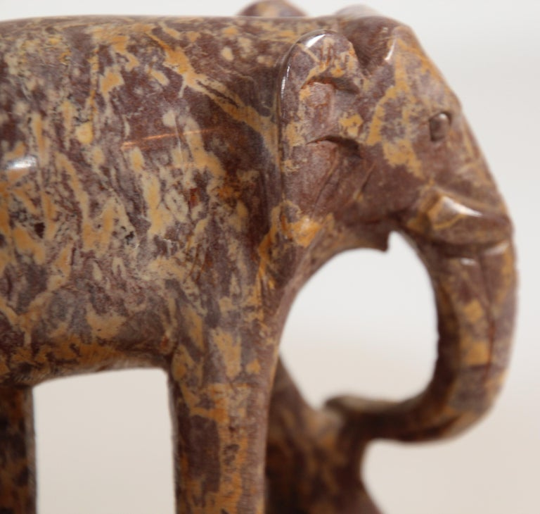 Hand-Carved Elephant Marble Sculpture Bookends, Art Deco Style, 1950s For Sale 12