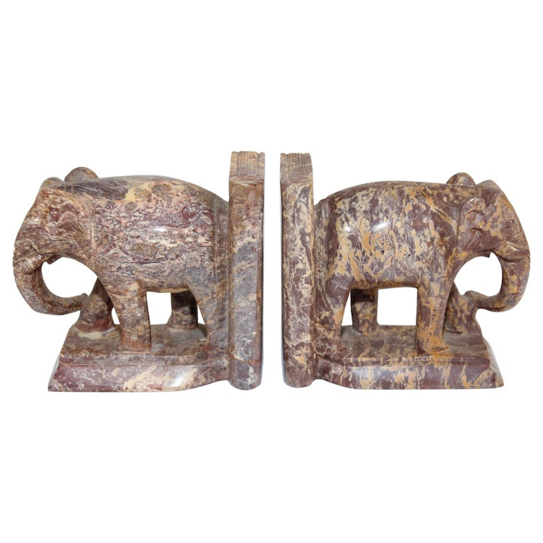 Hand-Carved Elephant Marble Sculpture Bookends, Art Deco Style, 1950s For Sale