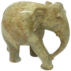 Hand-Carved Elephant Marble Sculpture Mid-Century Modern, 1970s