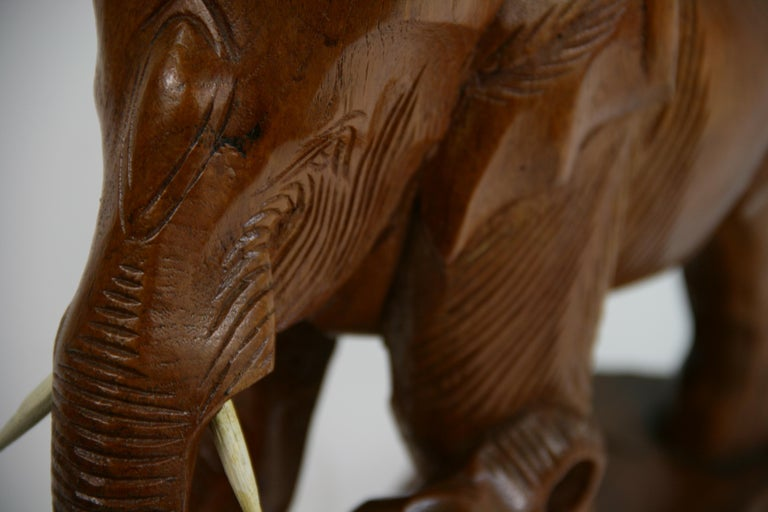 Hand Carved Elephant Sculpture For Sale 6