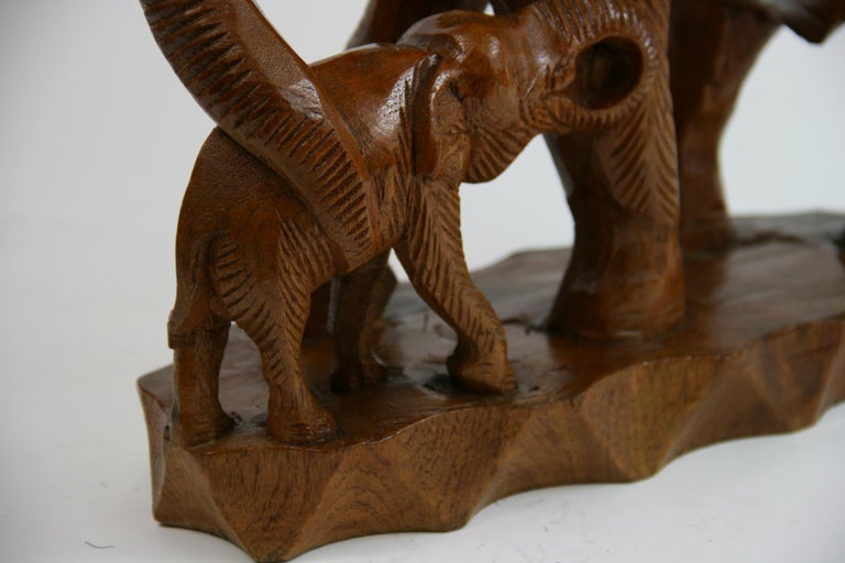 Hand Carved Elephant Sculpture In Good Condition For Sale In Douglas Manor, NY