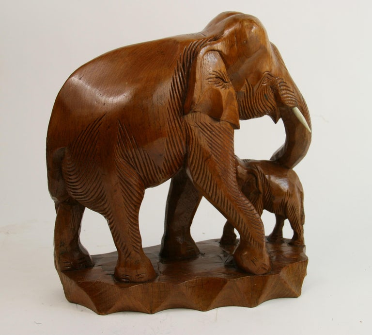 Hand Carved Elephant Sculpture For Sale 2