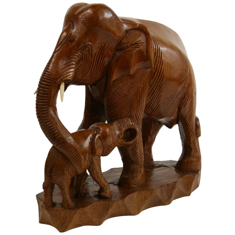 Hand Carved Elephant Sculpture For Sale