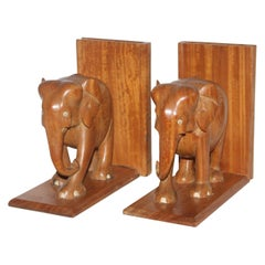 Hand Carved Elephants Bookends, Pair