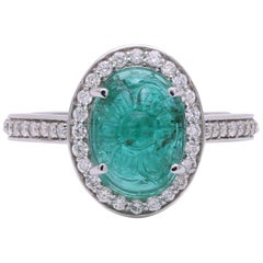 Hand Carved Emerald Cabochon Ring with Diamond Set in 18 Karat White Gold