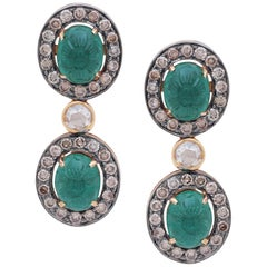 Hand Carved Emerald Earrings with Diamonds Handcrafted in 18 Karat Gold