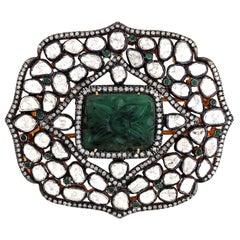 Hand Carved Emerald Rose Cut Diamond Brooch