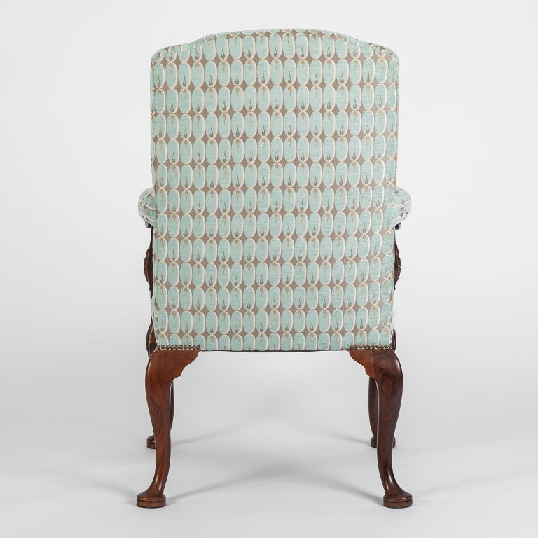 Mahogany Hand Carved English Georgian Style Armchair in Kravet Fabric, Late 19th Century For Sale