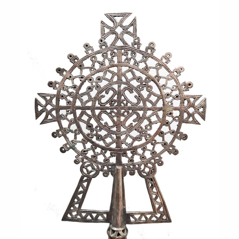 Hand-Carved Hand Carved Ethiopian Silver Cross For Sale