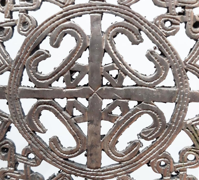 Hand Carved Ethiopian Silver Cross In Good Condition For Sale In New York, NY