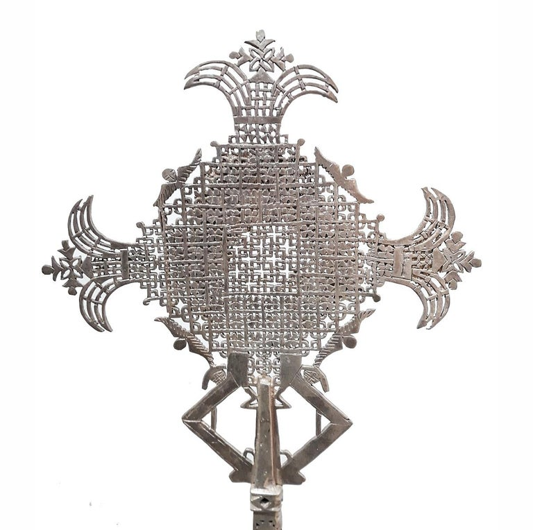 Silver Hand-Carved Ethiopian Cross For Sale