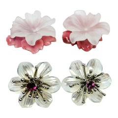 "Hand Carved Flower Earring Jacket Set with Pink Sapphire ""Stamen"" 18 Karat"