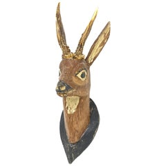 Hand Carved Folk Art Deer Head with Real Antlers, 19th Century