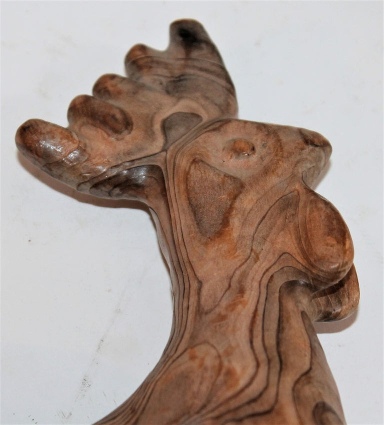 Hand Carved Folky Chicken In Distressed Condition For Sale In Los Angeles, CA